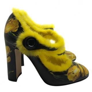 Dolce & Gabbana yellow tulips mink fur shoes