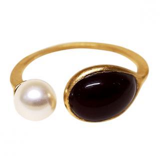 Gripoix Paris Poured Glass & Pearl Camelia Ring