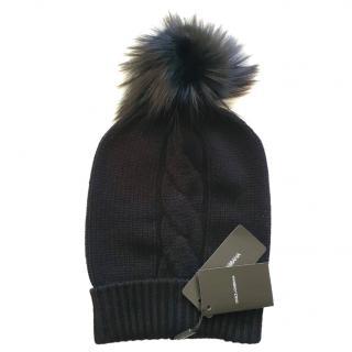 Dolce & Gabbana black cashmere fox fur hat