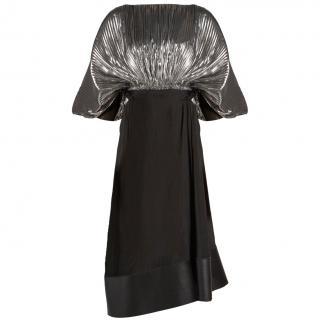 Loewe Lurex & Silk Silver & Black Asymmetric Dress