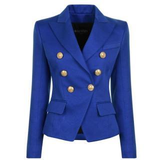 Balmain Blue Double Breasted Cotton Blazer