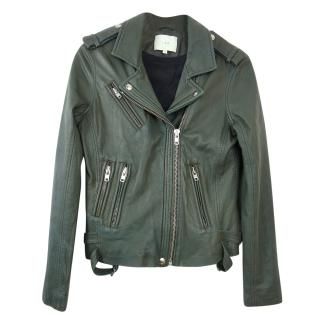 IRO Han Leather Jacket in Khaki Green