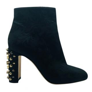 Dolce & Gabbana black brocade studded heel booties