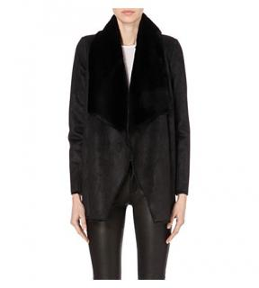 The Kooples Reversible Faux-shearling open-front coat