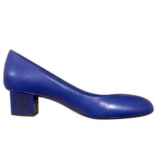 Chanel electric blue low block heel pumps