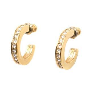 Dior Gold-plated Chunky Crystal Embellished Half Hoop Earrings