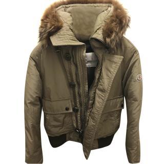 Moncler Down Fur Trimmed Hooded Jacket