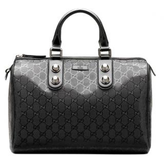 Gucci Black Monogram Coated Boston Bag