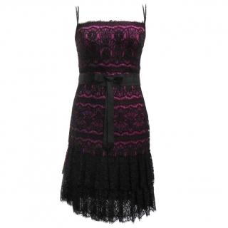 Marchesa Notte lace and silk dress