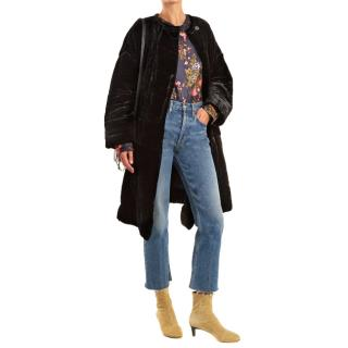 Isabel Marant Black Velvet Padded Coat