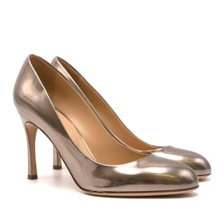 Sergio Rossi Metallic Rose Gold Leather Pumps