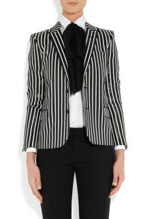 Saint Laurent Striped Glossed Rayur Effect Blazer