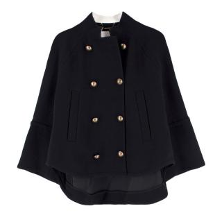 Chloe Black Wool Cape Style Double Breasted Jacket