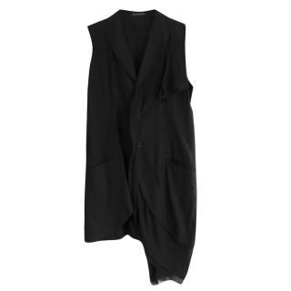 Yohji Yamamoto Black Linen/Cotton/Silk Asymmetric Dress