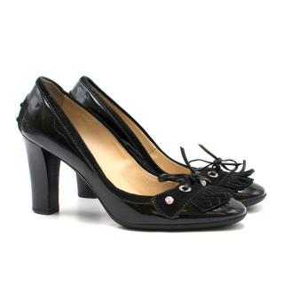 Tod's Patent Leather Jolie Double Fringe Pumps