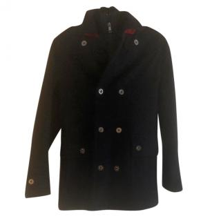 Burberry boy's navy double breasted coat