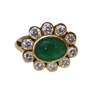 Bespoke Emerald & Diamond Halo Daisy Cluster Ring
