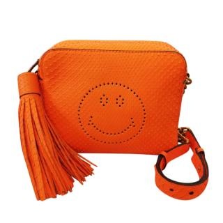 Anya Hindmarch Orange Python Smiley Messenger Bag