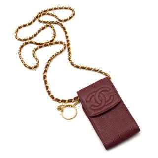 Chanel Vintage Oxblood Caviar Leather Cross-body Phone Purse