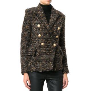 Balmain Boucle Woven Tweed Mohair Blend Jacket