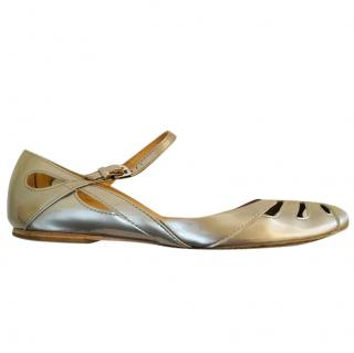 Tod's gold flat Mary Janes