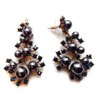 Oscar de la Renta Crystal & Pearl Vine Earrings