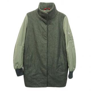 Peuterey Red Label Tweed Wool Khaki Green Sleeves Parka Coat