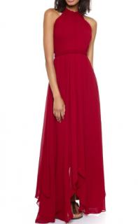Saloni 'Irina' Halter Chiffon Gown