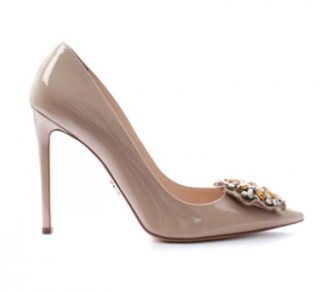 Prada Crystal Embellished Patent Leather Pointed Pumps