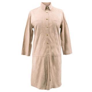 La Mania Beige Perea Long Sleeved Suede Dress