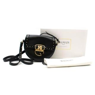 Balmain 44-18 Glove Black Leather Crossbody Bag w/Studs