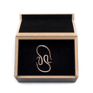 Diane Kordas 18k Rose Gold & White Diamond Open Swirl Ring