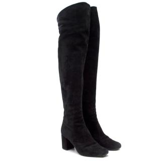 Saint Laurent Suede Long Heeled Boots