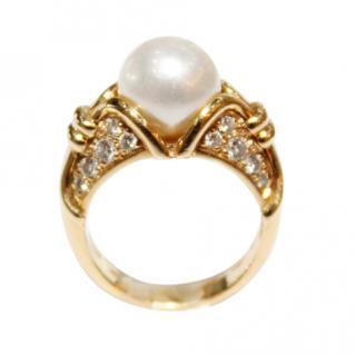 Bvlgari Vintage Passo Doppio Pearl & Diamond Ring