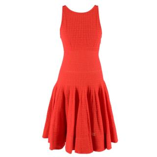 Maison Rabih Kayrouz Red Flared Hem Knitted Sleeveless Dress