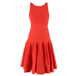 Maison Rabih Kayrouz Red Flared Hem Knitted Sleeveless Dress