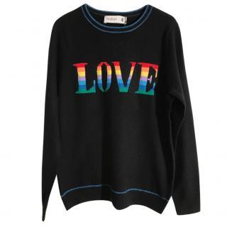 Pringle of Scotland merino wool black 'love' jumper