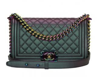 Chanel Medium Iridescent Boy Bag W/ Rainbow Hardware - Limited Edition