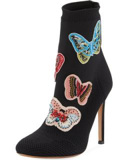 Valentino Garavani Butterfly Beaded Knit Sock Booties