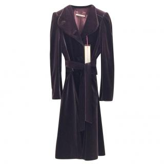 Ungaro Couture Deep Purple Velvet Long Coat