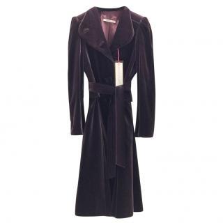 Ungaro Couture Deep Purple Velvet Long Coat