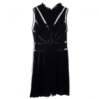 Christian Dior Black Pleated Silk Mesh Insert Sleeveless Dress