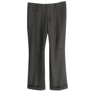 Club Monaco grey wool wide leg trousers