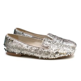 Chanel Silver Sequin Loafers