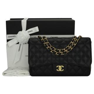 CHANEL Black Caviar Single Flap Jumbo Bag