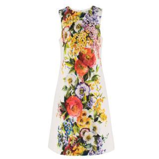 Dolce & Gabbana Floral Printed Brocade Shift Dress