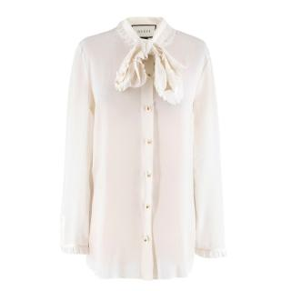 Gucci Off-white Silk Pussybow Ruffle Blouse