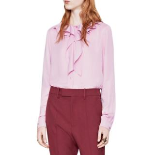 Gucci Pink Silk Ruffled Collar Tie-neck Blouse
