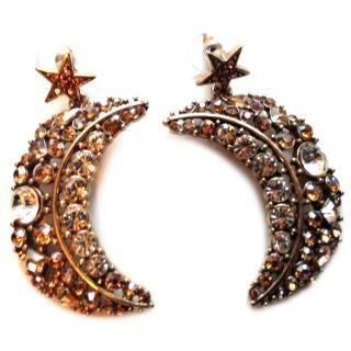 Oscar de la Renta Celestial Swarovski Crescent drop earrings