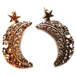 Oscar de la Renta Celestial Swarovski Crescent drop earrings
